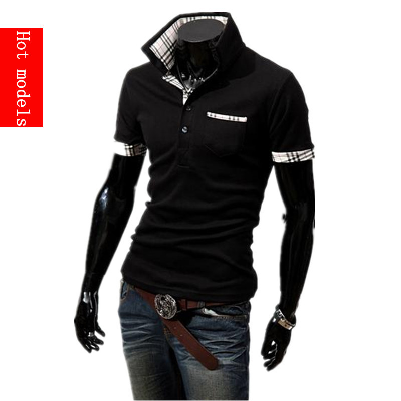 Free shipping 2015 summer new men's fashion casual short-sleeved shirt Slim solid color POLO shirt 5 colors black white(China (Mainland))