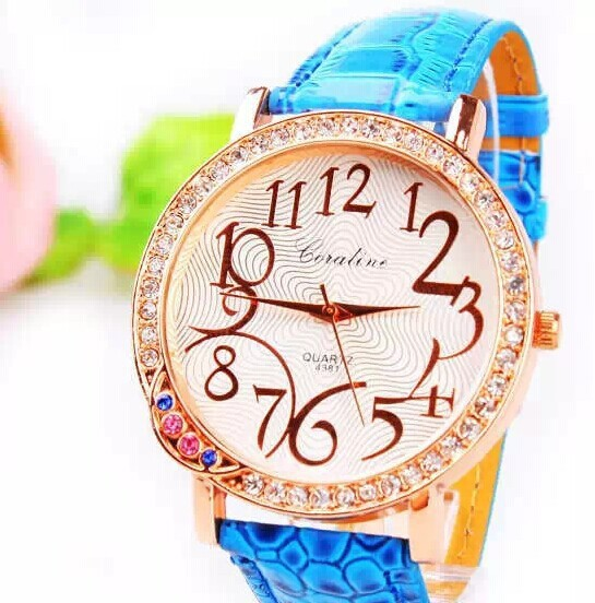 2014 New Luxury Design Digital Scale Crystal Watch Fashion Women's Leather Wristwatches Ladies Girls Big Dial Watches Clock Gift - China Factory Store store