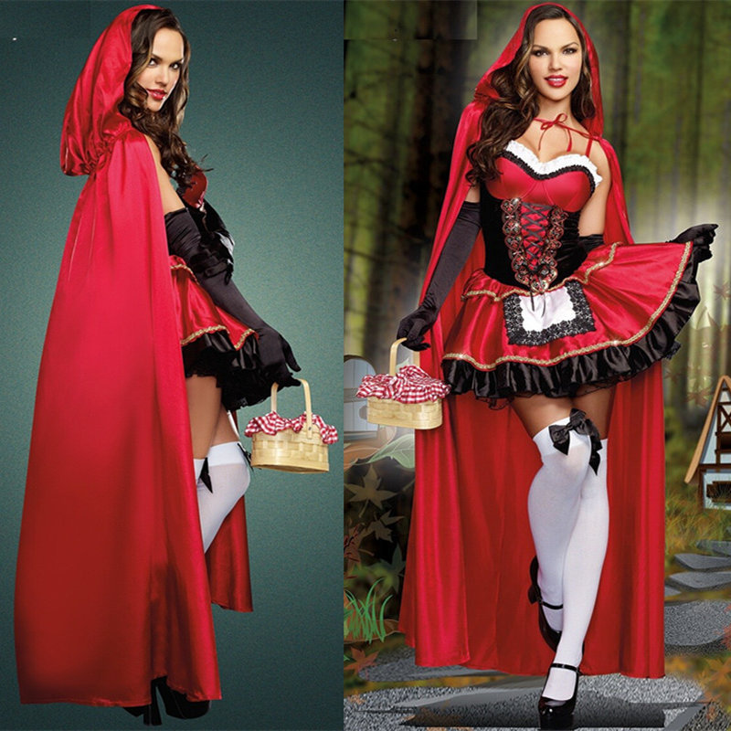 Hot 2014 sexy dress Halloween Little Red Riding Hood costume princess dress dress cloak Bar Game Cosplay costume free shipping от Aliexpress INT