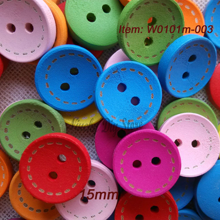 200pcs round dashed colorful wooden buttons 15mm buttons accessories for crafts sewing beautiful child baby button(China (Mainland))