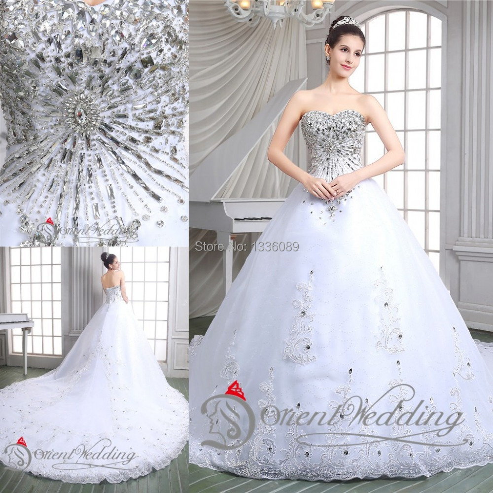 Luxury beading crystals sweetheart neckline long train for Ball gown wedding dresses with sweetheart neckline and beading