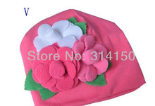 Tou Baby girl's  Flower Hats Baby Hats  Christmas hat girl's spring winter autumn Cap 100% cotton(China (Mainland))