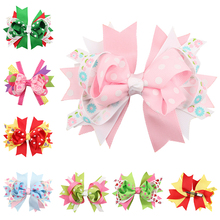 Buy 4.8'' Grosgrain Hair Ribbon Bows dot handmade Hair Clips headwear Boutique Girls Bow dots hairpins Girls' Hair Accessories for $1.44 in AliExpress store