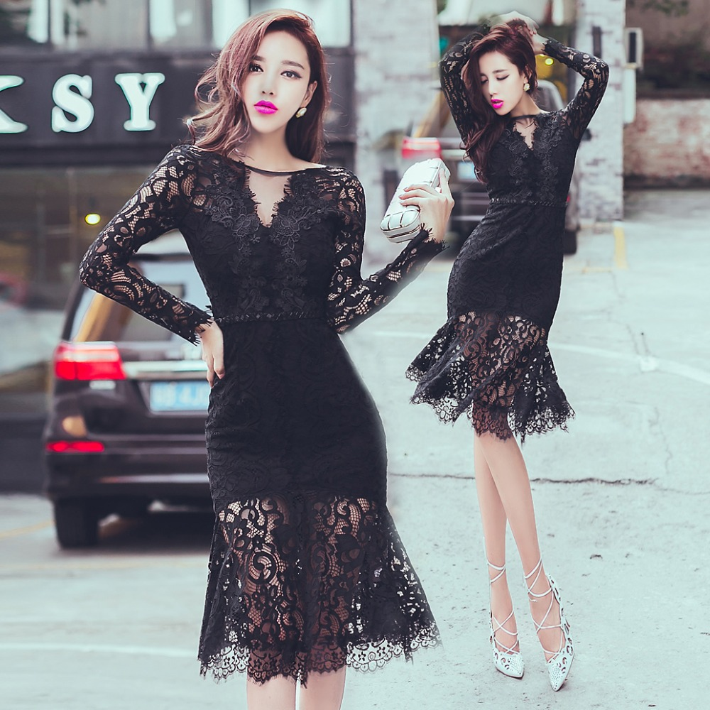 [New] 2016 Black V-neck lace flounced fish tail dress package hip openwork long-sleeved lace black dress free shippingОдежда и ак�е��уары<br><br><br>Aliexpress