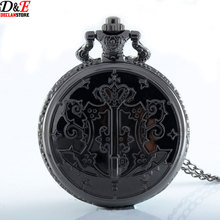 Vintage 45mm Dial Shiny Black Quartz Black Butler  Anime Pocket Watch  Boys Pendant Gift With Chain P317