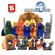 SY167 Fantastic Four Action Figures Minifigures Building Blocks  Marvel Super Hero Human Torch Invisible Woman Thing Ben Bricks