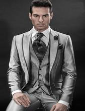 Italian Suit Custom Made 2016 Grey Tuxedo Groom Suits Jacket+Pants+Tie+Vest  A Set Groom Tuxedos Best Men Suits Mens