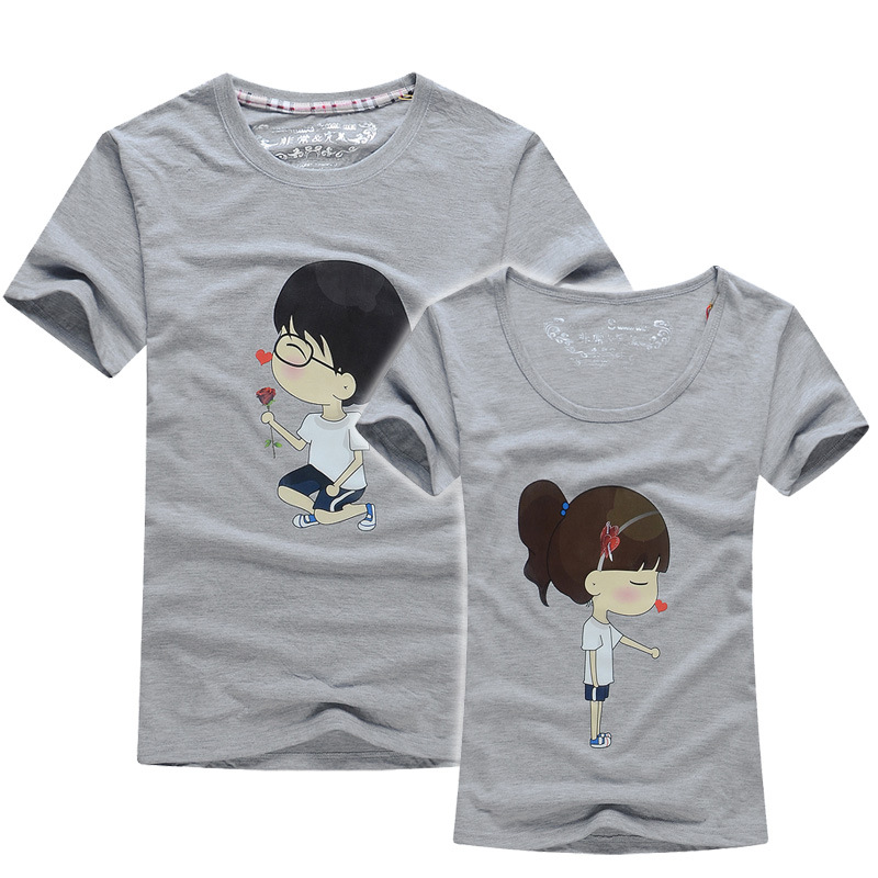 2016 Valentine Day Gifts Men Women Short Sleeve Couples T Shirts Print Cartoon Girl Boy Female Male Casual Lovers T-Shirt CamisaОдежда и ак�е��уары<br><br><br>Aliexpress