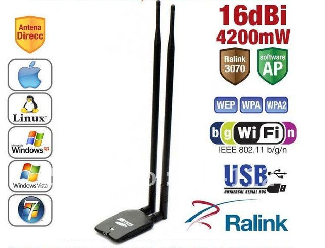 free shipping !Netsys 980000N 2.4GHz 4200mW High Power 802.11b/g/n 150Mbps USB Wi-Fi Wireless Network Adapter