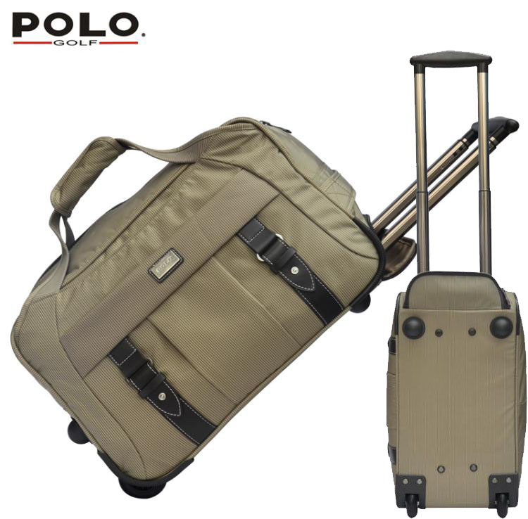 Brand Famous POLO Golf Rolling Wheeled Trolley Travel Clothing Bag Import Nylon PU Large Capacity Handbag Luggage Bag(China (Mainland))