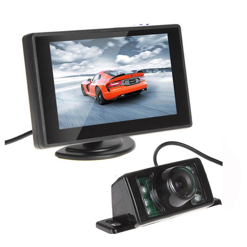 Waterproof 420TVL 2.8mm 170 Lens Angle CMOS Car Rearview Parking Camera With 4.3 Inch TFT LCD Monitor For Reversing Backup Cam(China (Mainland))