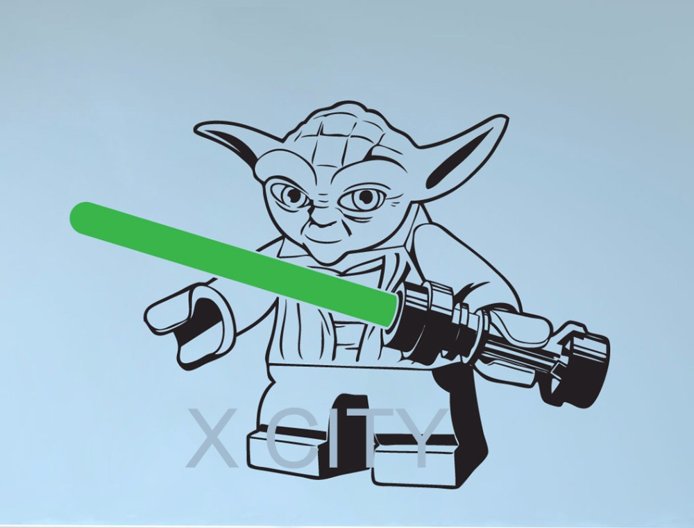 Lego YODA STAR WARS wall art sticker decal removable vinyl cut DIY Home Decor Mural Children Bedroom 43cm x 60cm(China (Mainland))