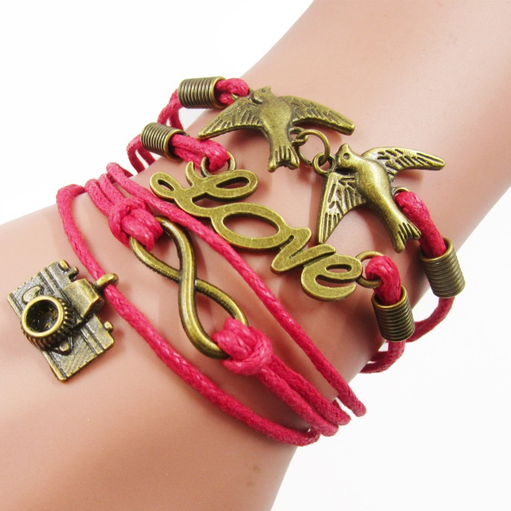 Beautiful Bronze Plated Bird Love Infinity Camera Charm Bracelets for Girls, Fashion Red Leather Handmade Multilayer Bracelet(China (Mainland))