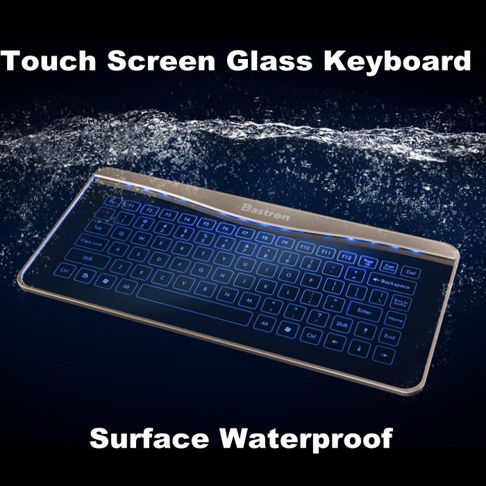 Bastron Transprent Glass Keyboard with Touchpad Backlight Mouse Keyboard Smart for Mac OSX