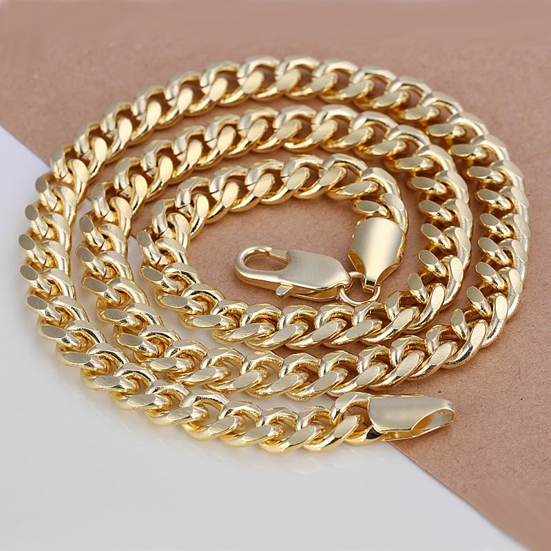 Free Shipping Fashion Jewelry Wholesale Price Link Chain 18K Gold Necklace for Men Suit Necklaces Men N238(China (Mainland))
