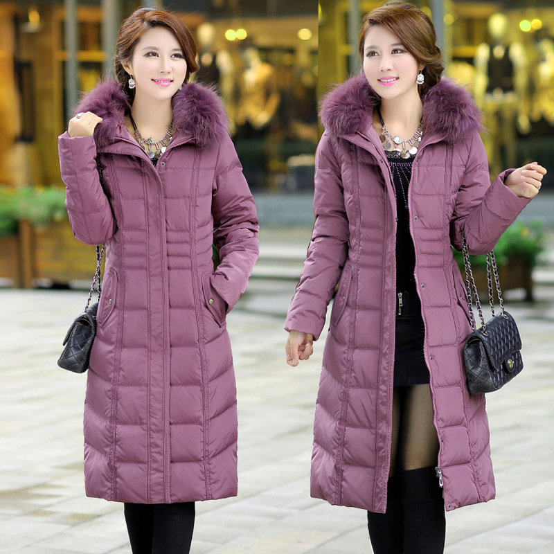 Winter Jacket Women 2015 Coat Parka Womens Racoon Fur Hooded Duck Coats Long Parkas 1501
