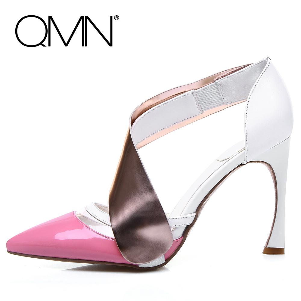 Фотография QMN women sandals genuine leather PVC Women Gladiator Sandals Slip On Summer Shoes Woman High Heels Sandals Pink/Black 34-41