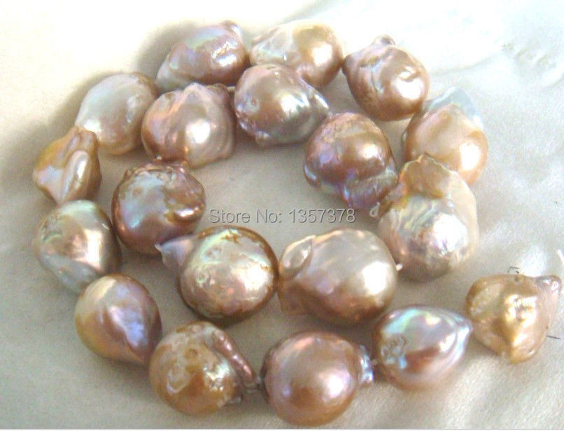 """bjc 000422 HUGE 18""""13-16MM NATURAL SOUTH SEA GENUINE GOLD PINK LAVENDER PEARL NECKLACE(China (Mainland))"""