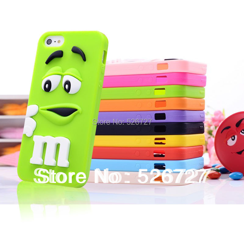 Soft silicone M&M Fragrance Chocolate Case For iphone 5 5S M Rainbow Beans case cover For iphone 5 5G 5S Free Shipping(China (Mainland))
