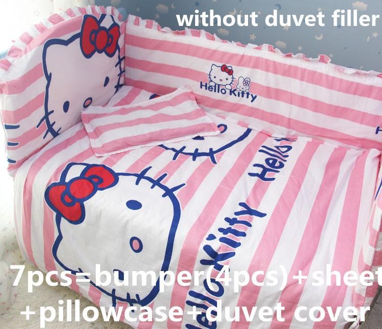 Promotion! 6/7PCS Hello Kitty 100% Cotton Cute Cartoon Crib Set For Babies,Baby Bedding Set , 120*60/120*70cm<br><br>Aliexpress