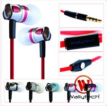Wallytech DHL Fast shipping 100 x High Quality Flat Cable Metal Earphones With Microphone & On/Off Remote For iPhone5  (WHF-109)(China (Mainland))