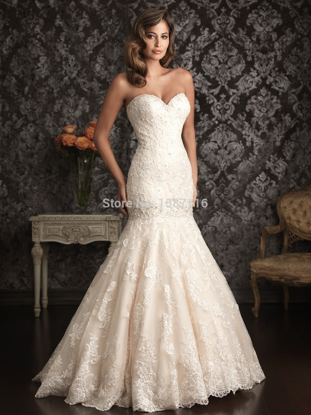 Fashion 2015 sweetheart mermaid wedding dresses floor for Beaded lace mermaid wedding dress