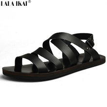 Summer Men Sandals Leather Vintage Flat Heel Solid Buckle Beach Gladiator Sandals For Men Breathable New Mens Shoes XMH0067-5(China (Mainland))