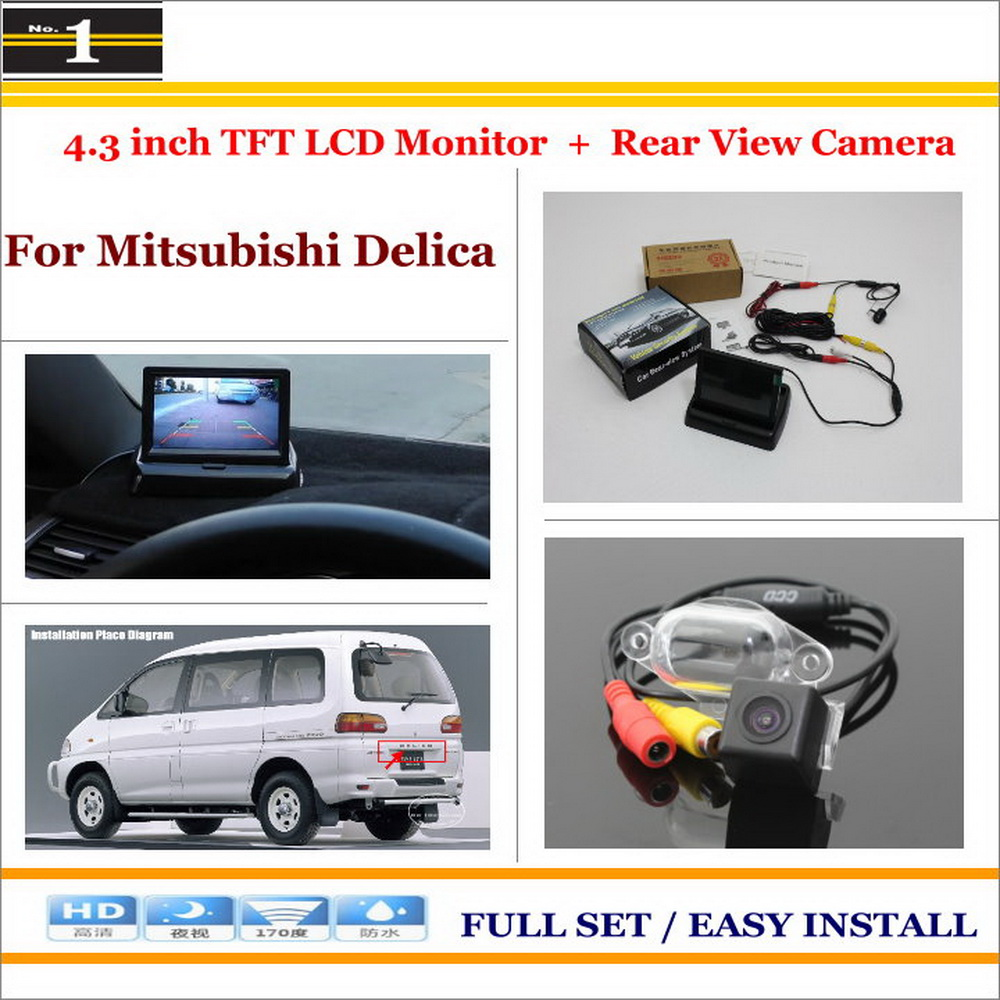 """For Mitsubishi Delica - Car Reverse Rear Camera + 4.3"""" TFT LCD Monitor = 2 in 1 Parking System(China (Mainland))"""