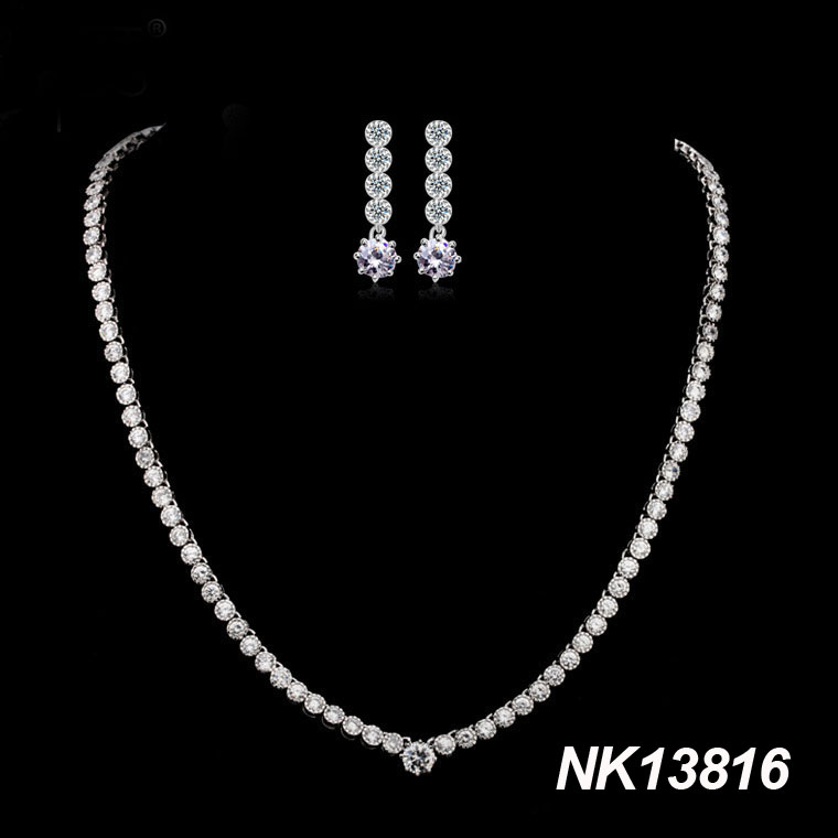 2014 hot sale Zircon Jewelry Sets The Cubic Zirconia Tassel Wedding Necklace & Earrings set Fashion Party evening Jewellery(China (Mainland))