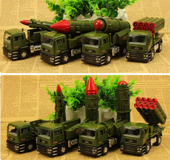 Alloy 1:32 Missile launch vehicle truck Diecast pull back Flashing sound Electric model car for kids toys(nuobeile010)(China (Mainland))