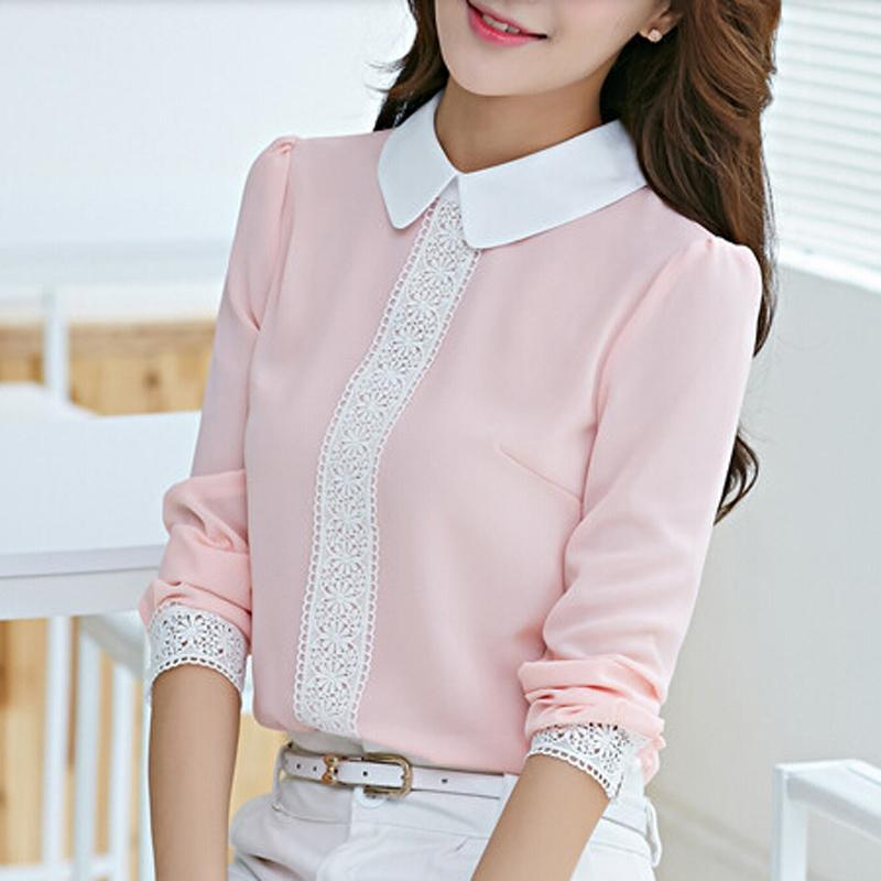 New Arrival 2016 Autumn Spring Peter Pan Collar Chiffon Blouse Women's Long Sleeve Lace Crochet Top Pink/White(China (Mainland))