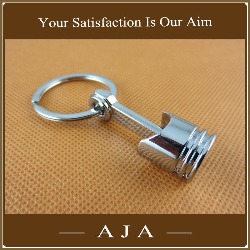 Promotional Wholesale Creative Men Car Trinkets High Quality Silver Plated Zinc Alloy Auto Parts Model Engine Piston Keychain(China (Mainland))