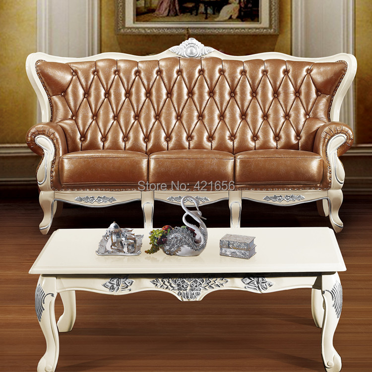 European classical combination luxurious leather sofa living room sofa solid wood carved furniture wholesale G308(China (Mainland))