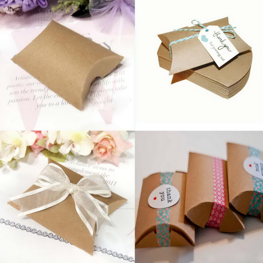 100Pcs/lot Vintage Kraft Paper/ Clear Pillow Shape Wedding Favor Gift Box Party Candy Bags Wholesales(China (Mainland))
