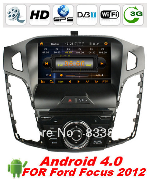 "Android4.0 HD 8 "" 1 din Car DVD GPS Navi for ford Focus 2012 with BT IPOD TV Video Radio 3D UI PIP 3G/WIFI AUX IN + CANBUS(China (Mainland))"