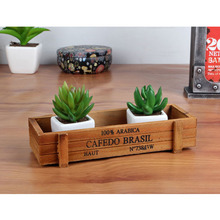 Antique Wooden Table Sundries Container Cosmetics Storage Box Multifunctional Flowerpot Office House(China (Mainland))