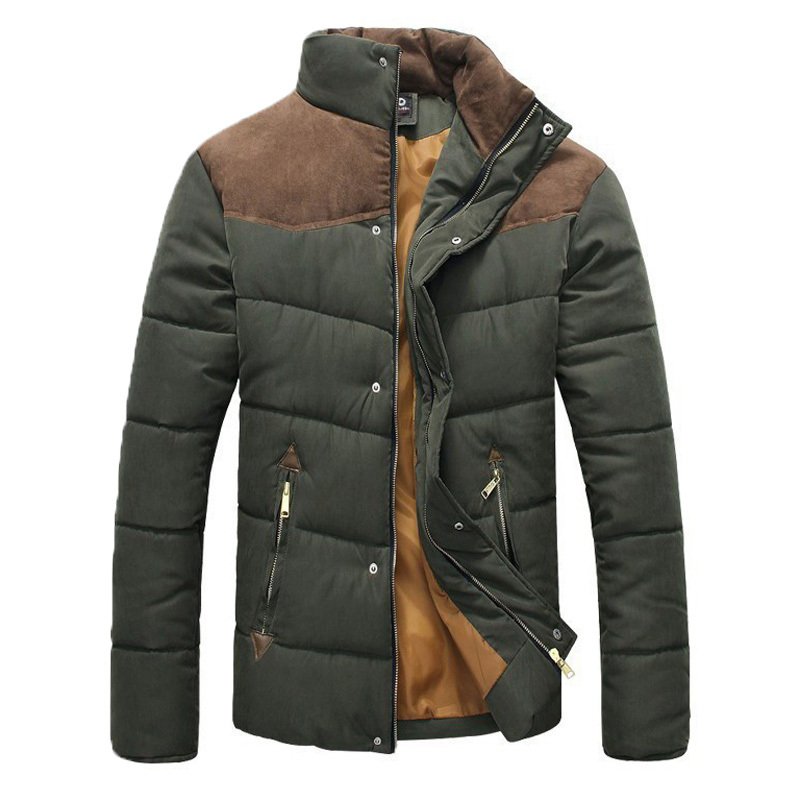2015 New Arrival Fashion Men Winter Splicing Cotton Padded Coat Jacket Winter Plus Size High Quality
