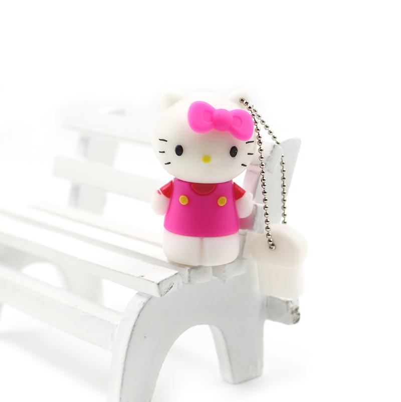 Full Capacity U Disk 4GB 8GB 16GB 32GB 64GB Fashion Cartoon hello kitty cat USB Flash Drive USB2.0 memory stick(China (Mainland))