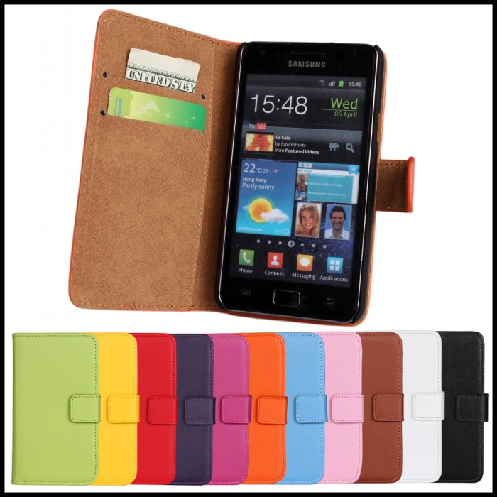 For Samsung Galaxy S2 i9100 Phone Case Leather Wallet Card Slot Stand Protective Pouch Bag For Galaxy i9100 Mobile Cover(China (Mainland))