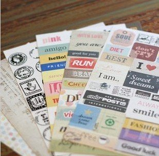 Freeshipping!!Wholesale,Cute Vintage Postmarks Sticker/Multifunction/Cartoon DIY Paper Sticker/Sign post/Label-6pcs/set<br><br>Aliexpress