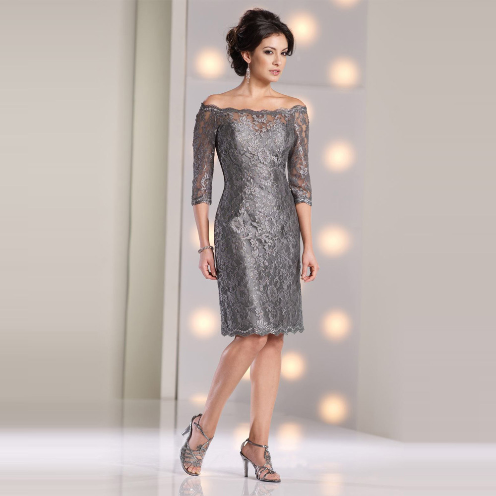 Hot and cheap gray 2016 lace sheath mother of the bridal for Wedding dresses for mother of bride