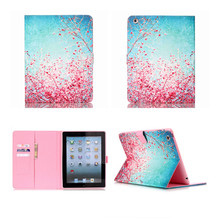 Thin Cartoon Flower Paint Stand Flip PU Leather For Apple i Pad 2 3 4 Smart Case For ipad2 Cover For ipad3 Funda For ipad4 Capa(China (Mainland))