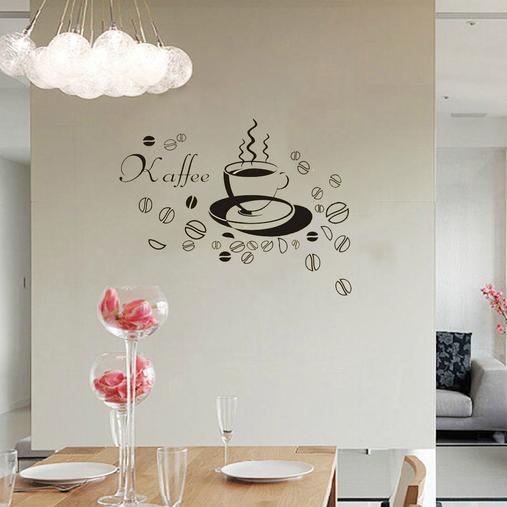 Removable Coffee Cup Letter Art Rooms Vinyl Bedroom Decoracion Bathroom Wallpapers Kitchen Bar Stikers Home Decor Mural Poster(China (Mainland))