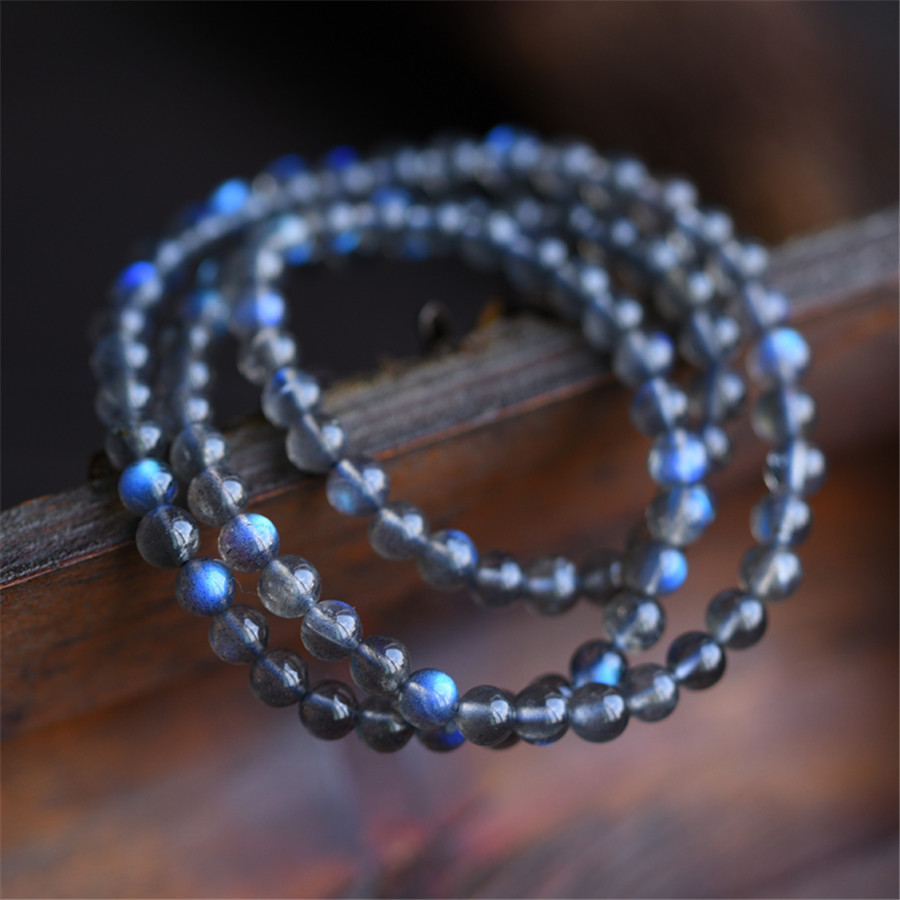 7-10mm Genuine Natural Labradorite Crystal Bracelets For Women Stone Blue Light Charm Stretch Clear Round Bead Bracelet(China (Mainland))