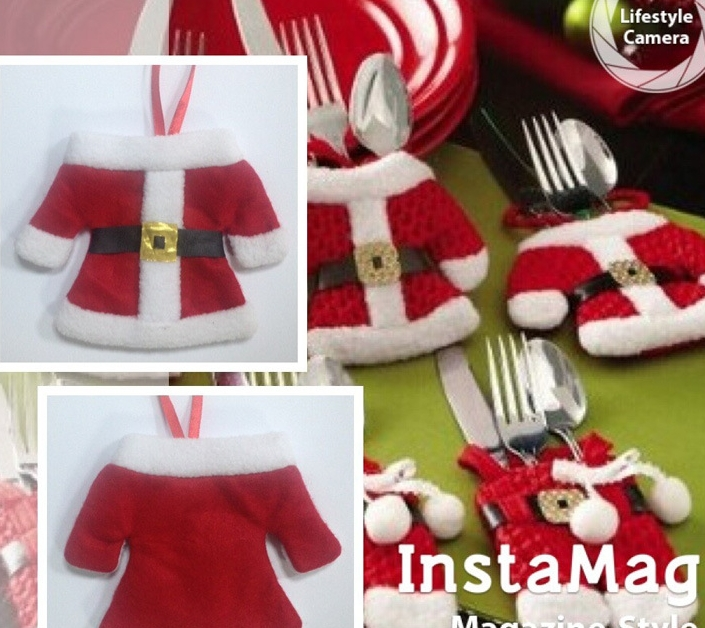 Wholesale 30pcstop+30pcs /lot Christmas clothes knivesforks bags creative house Christmas dinnerware sets storage bags(China (Mainland))
