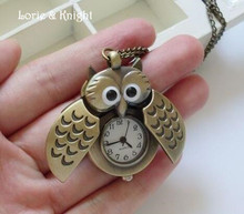 Hot Sale Kids Cute Owl Pocket Watch Chain Sweater Necklace