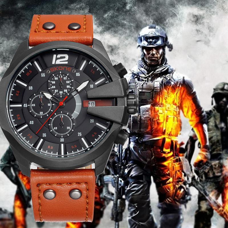 SKONE Men's Watch Chronograph Stopwatch Sport Quartz-watch Man Military Leather Wrist Watches Luxury Male Clock reloj hombre