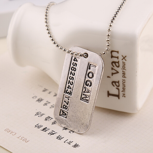 Best Selling Science Fiction Movie X-Men Alphanumeric Square Card Alloy Pendant Necklace Domineering Man Jewelry(China (Mainland))