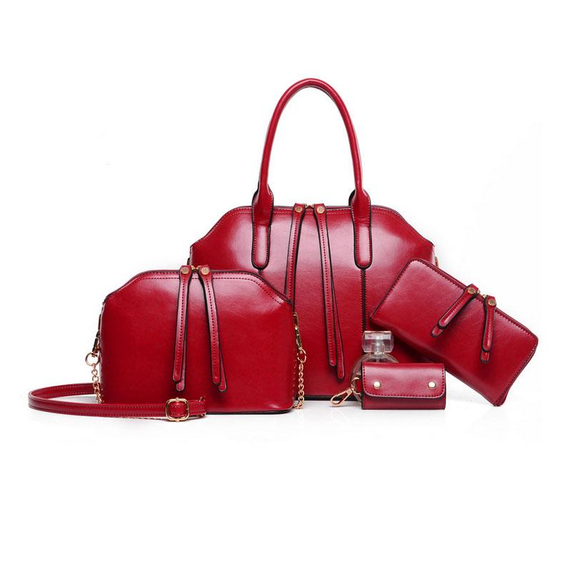 New Arrival Handbag+Messenger Bag+Purse+Wallet 4 sets Wax oiled Genuine leather Bag Women Handbag Shoulder Crossbody Bag <br><br>Aliexpress