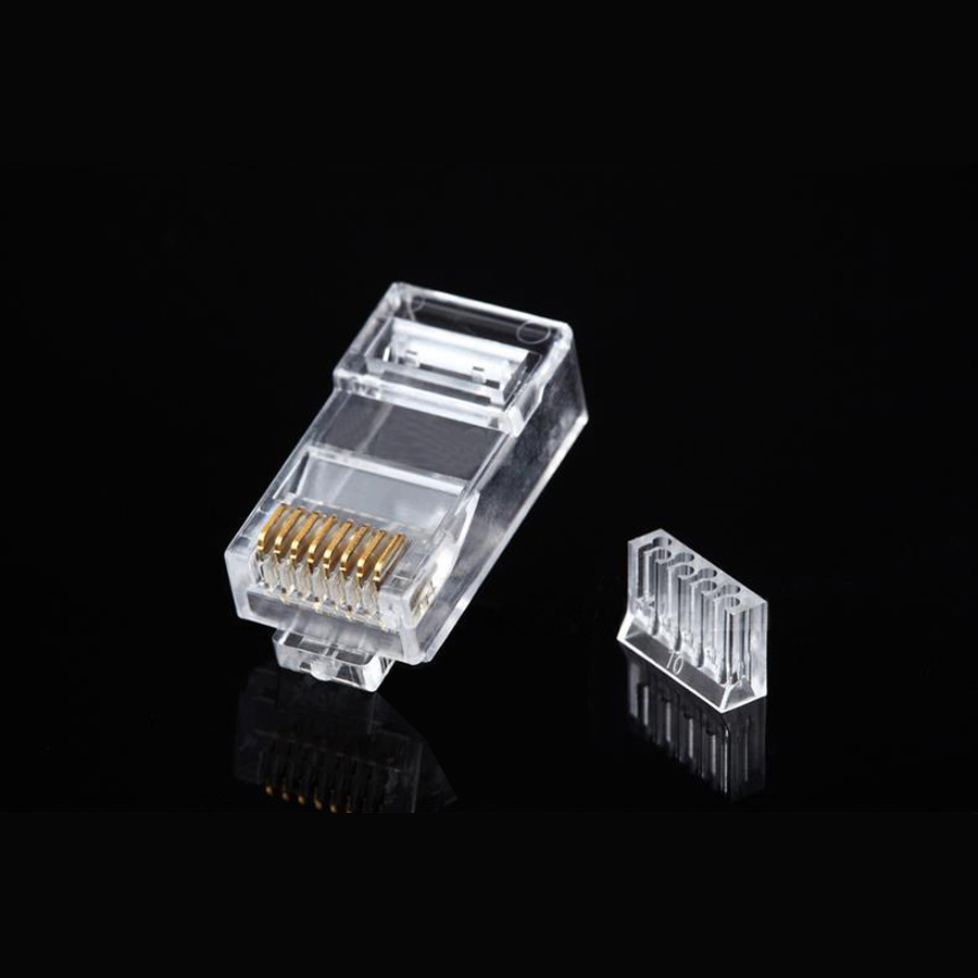 50pcs / lot rj45 cat6 network connector two piece split type 8p8c 4 up 4 down cable modular plug terminals hot sale(China (Mainland))